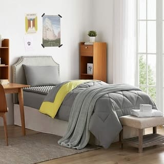 Porch & Den Biles Limelight Yellow/Alloy Grey Twin XL Dorm Room Bedding Set