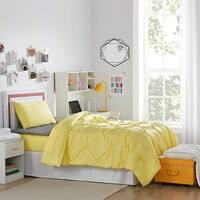 Dorm Essentials Pack - Twin XL - Pin Tuck Limelight Yellow Color Set