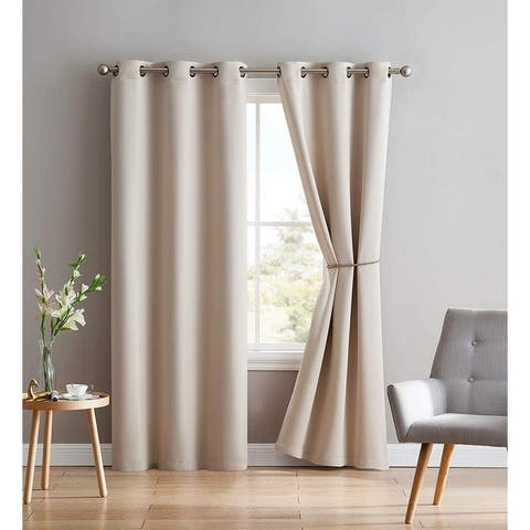 Porch & Den Jessamine Thermal Insulated Blackout Curtain Panels with Tie-Backs