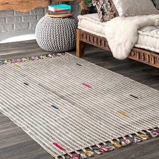 Porch & Den Kollenborn Multicolored Cotton Striped Area Rug