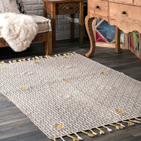 nuLOOM Geometric Clover Tarra Cotton Area Rug with Tassels