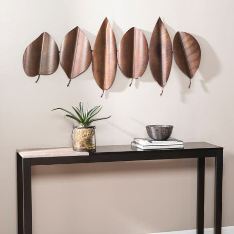 Carbon Loft Sulina Brown Metal Leaf Wall Sculpture