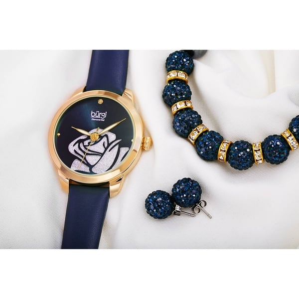 Burgi Women's Earrings, Crystal Bracelet, Diamond Rose Watch Fashion Gift  Set - On Sale - Overstock - 27994843 - Black