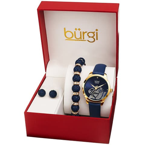 Burgi Women's Earrings, Crystal Bracelet, Diamond Rose Watch Fashion Gift Set