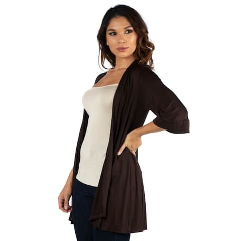 24seven Comfort Apparel Elbow Length Sleeve Open Front Cardigan