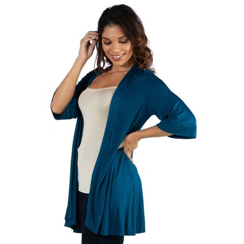 24seven Comfort Apparel Elbow Length Sleeve Open Front Cardigan