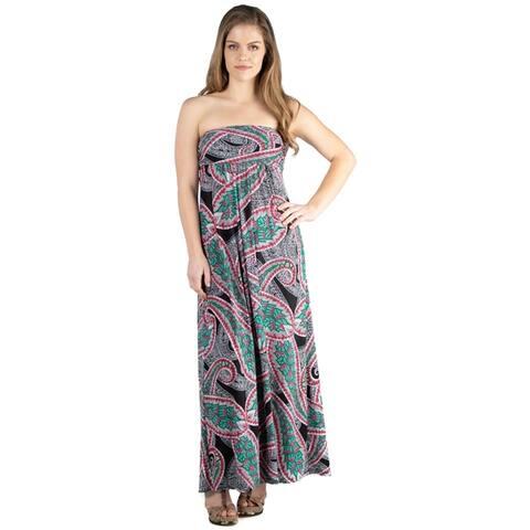 24seven Comfort Apparel Plus Size Flowy Strapless Tube Maxi Dress