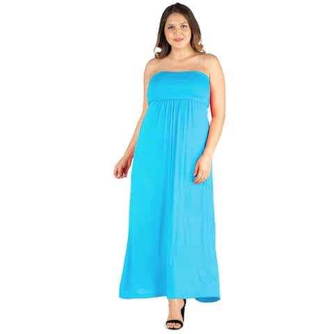 24seven Comfort Apparel Plus Size Flowy Strapless Tube Maxi Dress