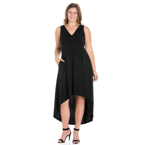 24seven Comfort Apparel Modern Classic High Low Plus Size Dress with Pocket