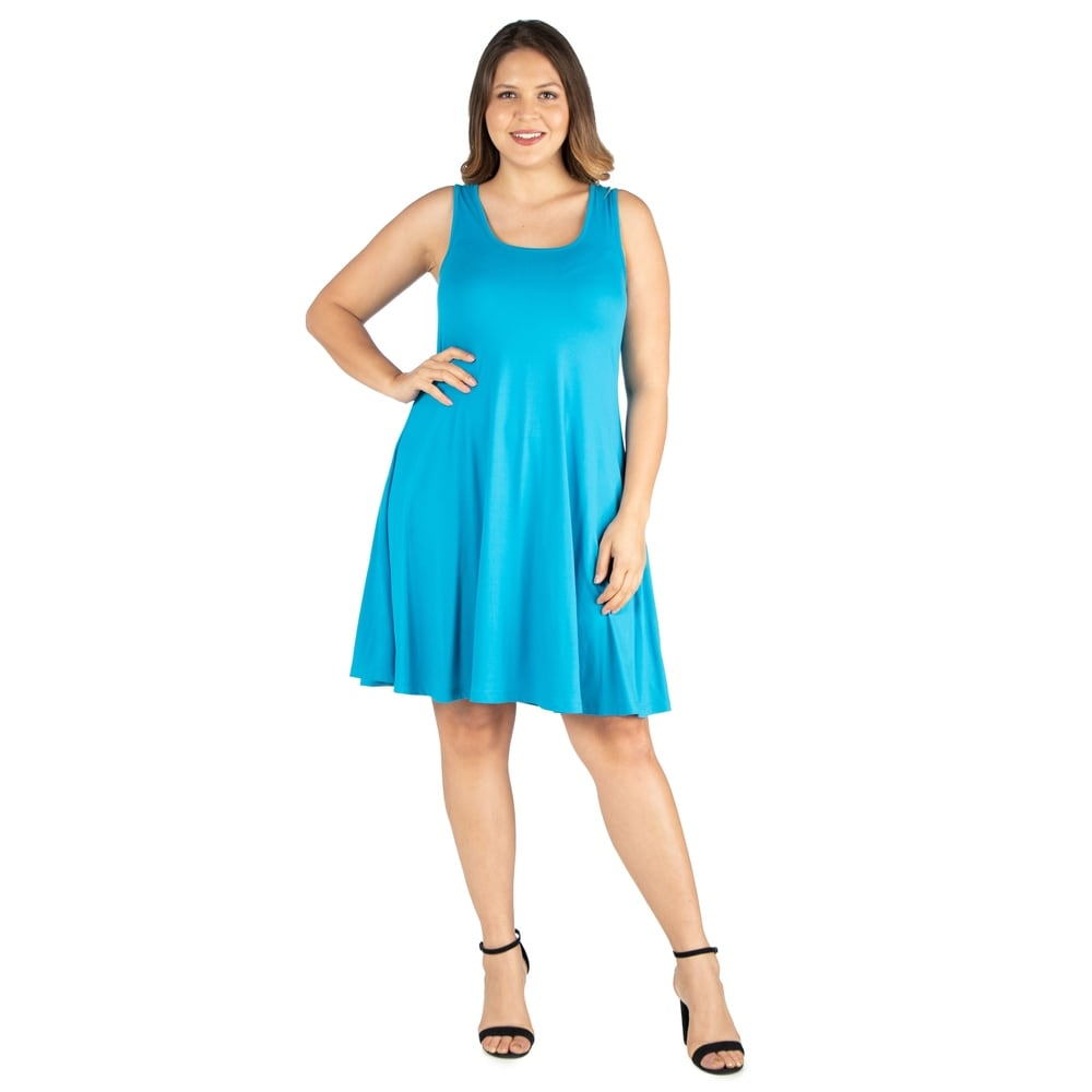 24seven Comfort Apparel Floral Fit and Flare Knee Length Plus Size Tank Dress