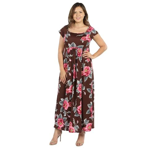 24seven Comfort Apparel Cap Sleeve Empire Waist Plus Size Maxi Dress