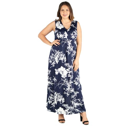 24seven Comfort Apparel Sleeveless Empire Waist Plus Size Maxi Dress