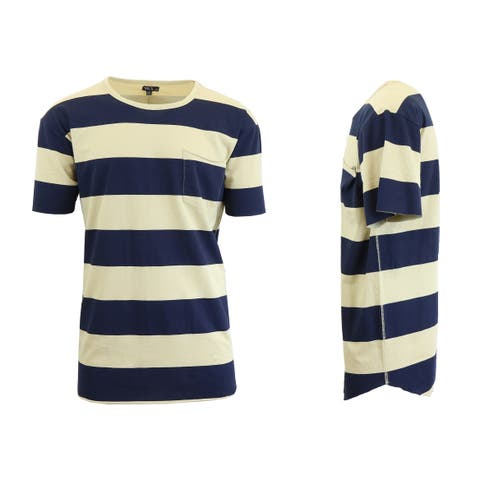 Galaxy By Harvic Men's Brushed Cotton Striped Tee with Raw Hem