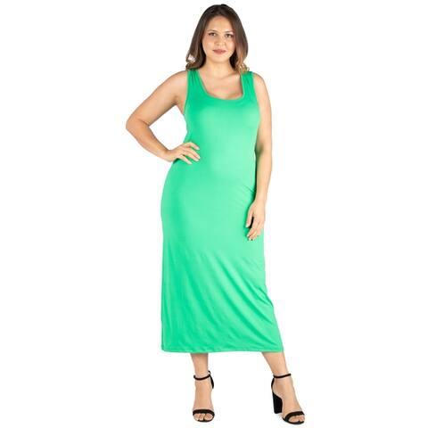 24seven Comfort Apparel Racerback Plus Size Maxi Dress