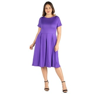 24seven Comfort Apparel Short Sleeve Plus Size Midi Skater Dress