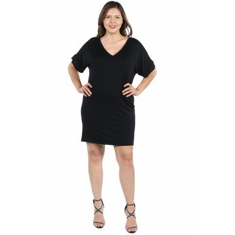24seven Comfort Apparel V Neck Loose Fit Plus Size Resort Dress