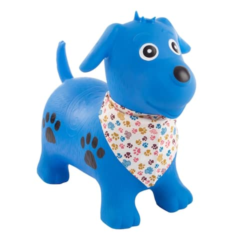 Bouncy Dog- Inflatable Indoor Ride-On Hopper and Balance Exercise Animal Toy for Toddlers, Air Pump Included by Happy Trails
