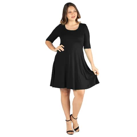 24seven Comfort Appare Elbow Sleeve Plus Size Knee Length Dress