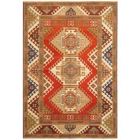 Handmade One-of-a-Kind Kazak Wool Rug (India) - 5'7 x 8'