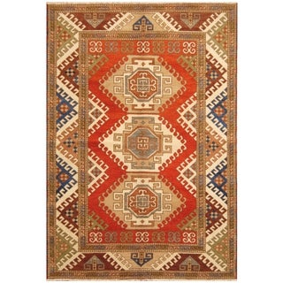 Handmade One-of-a-Kind Kazak Wool Rug (India) - 5'7 x 8'