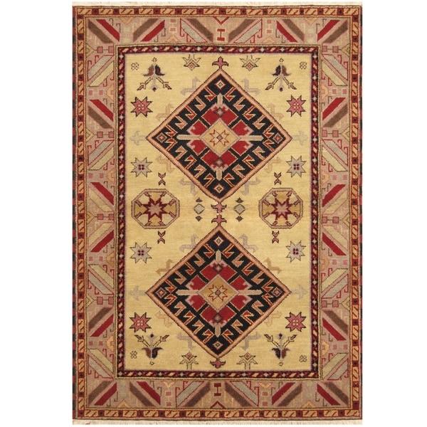 Handmade One-of-a-Kind Kazak Wool Rug (India) - 4'8 x 6'10