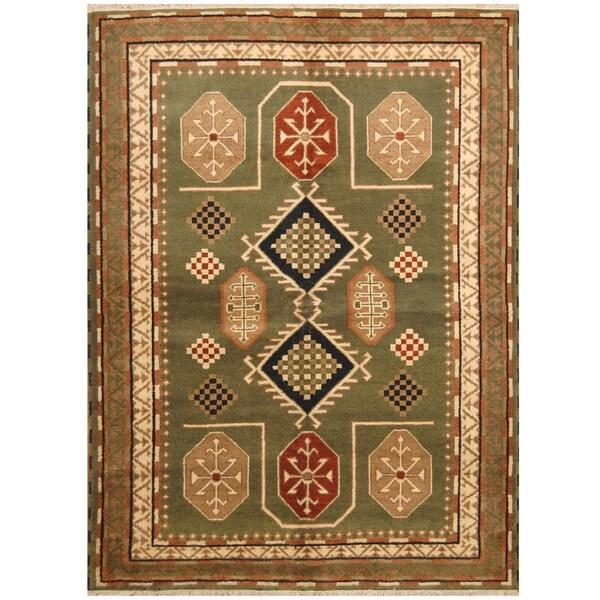 Handmade One-of-a-Kind Kazak Wool Rug (India) - 5'9 x 7'10