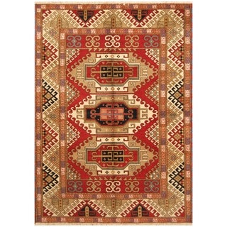Handmade One-of-a-Kind Kazak Wool Rug (India) - 5'8 x 7'10