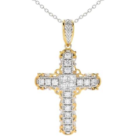 Michael Valitutti Palladium Silver White Zircon Cross Pendant