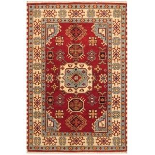 Handmade Kazak Wool Rug (India) - 4' x 6'