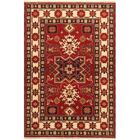 Handmade One-of-a-Kind Kazak Wool Rug (India) - 4' x 6'