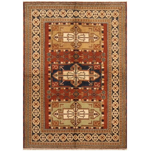 Handmade One-of-a-Kind Kazak Wool Rug (India) - 5'7 x 7'10