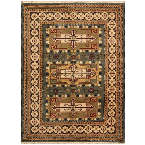 Handmade One-of-a-Kind Kazak Wool Rug (India) - 4'10 x 6'5