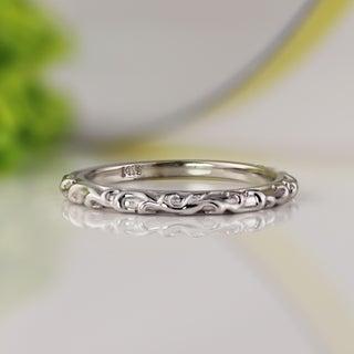 Link to Auriya Vintage Floral Scroll Wedding Band 14k Gold Similar Items in Rings