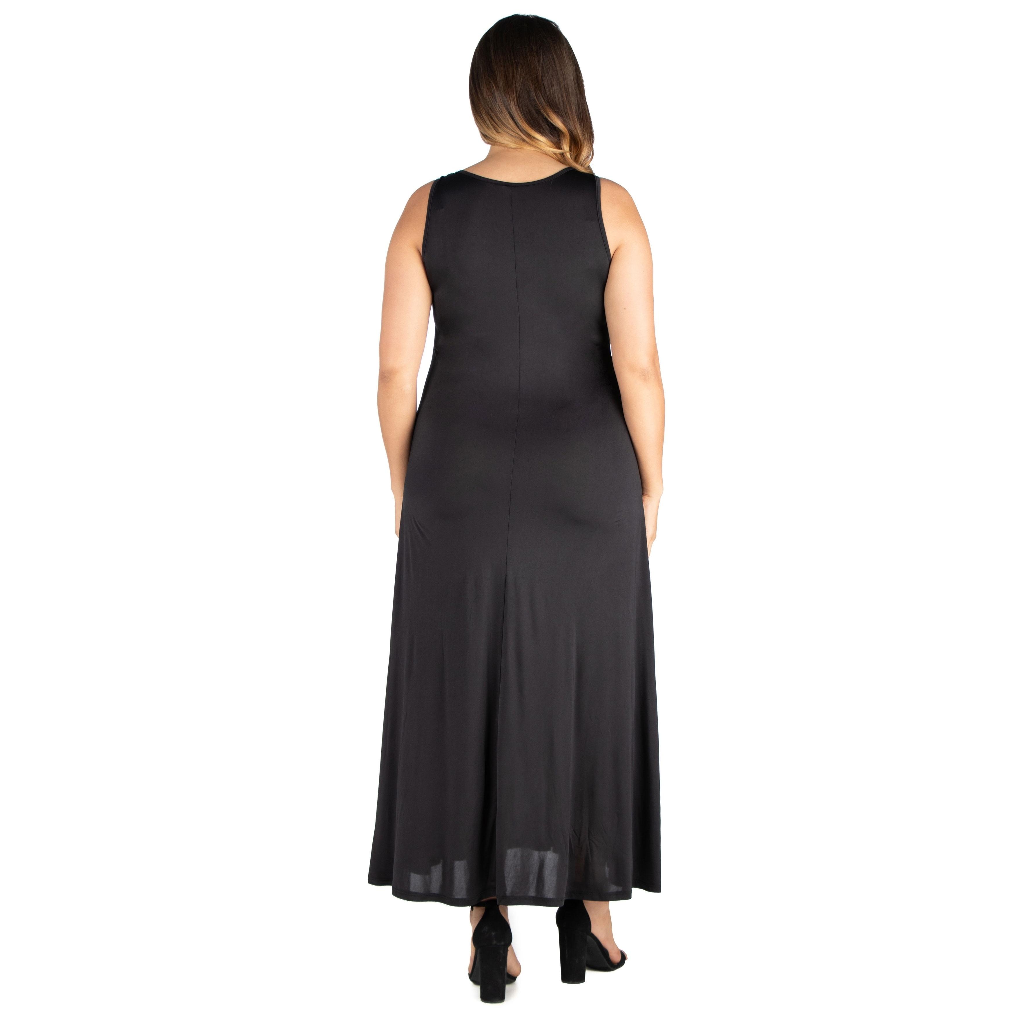24seven Comfort Apparel Simple A Line Plus Size Tank Maxi Dress