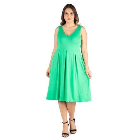 24seven Comfort Apparel Sleeveless Plus Size Fit and Flare Dress