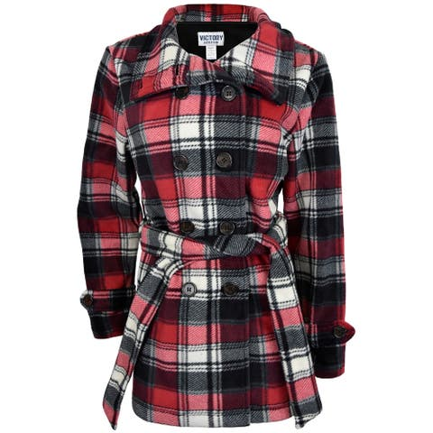 Victory Outfitters Women's Plaid Belted Microfleece Pea Coat