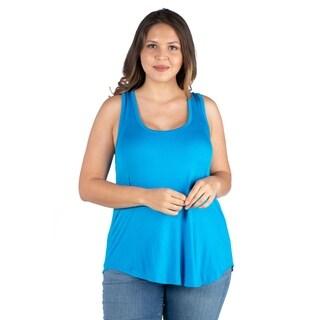 Link to 24seven Comfort Apparel Round Hemline Plus Size Razorback Tank Top Similar Items in Women's Plus-Size Clothing