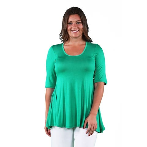 24seven Comfort Apparel Elbow Sleeve Plus Size Tunic Top For Women