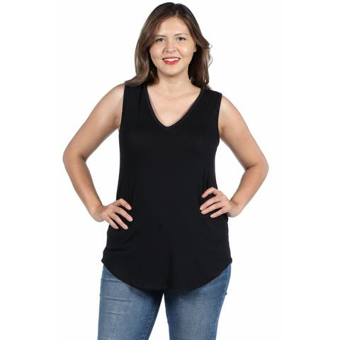 24seven Comfort Apparel V Neck Sleeveless Plus Size Top