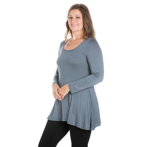 24seven Comfort Apparel Long Sleeve Swing Plus Size Tunic Top