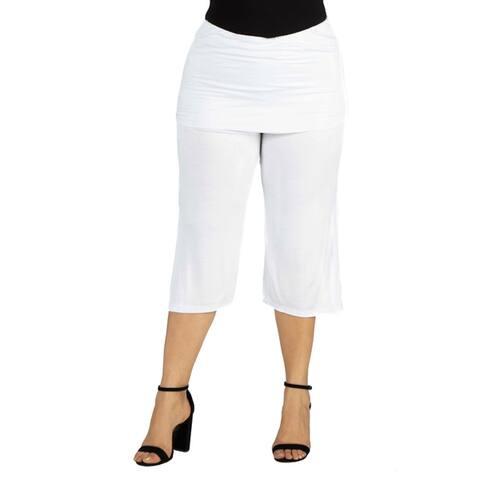 24seven Comfort Apparel Foldover Waist Plus Size Cropped Pants