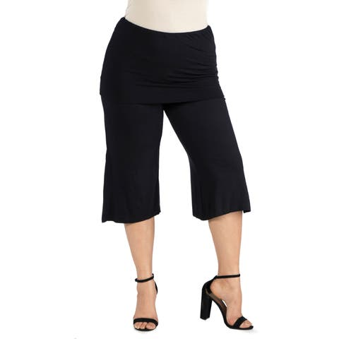 24seven Comfort Apparel Foldover Waist Plus Size Cropped Pants