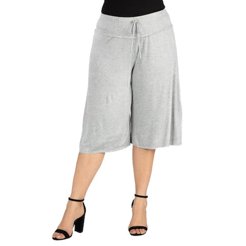 24seven Comfort Apparel Drawstring Plus Size Gaucho Pants