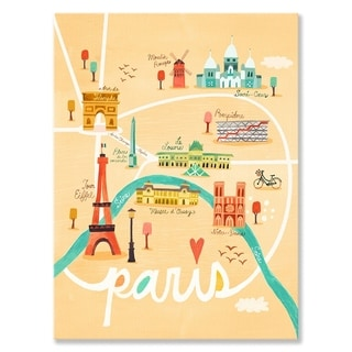 Oopsy Daisy 'Map of Paris' by Irene Chan Canvas Wall Art - 10 x 14