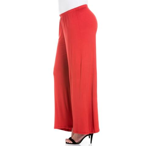24seven Comfort Apparel Elastic Waist Flared Leg Plus Size Pants