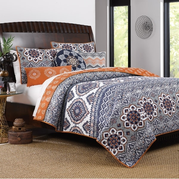 Greenland Home Fashions Medina Saffron Bonus Quilt Set With Pillows