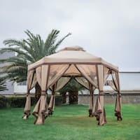 Kinbor 11.8' x 10.2' Outdoor Gazebo Instant Gazebo Canopy Patio Shelter Vented Gazebo w/ Mosquito Netting
