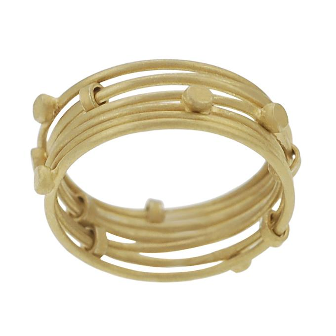 Goldtone-plated Sterling Silver Seven Link Ring
