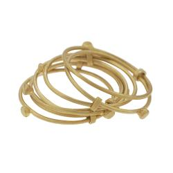 Goldtone-plated Sterling Silver Seven Link Ring - Thumbnail 1
