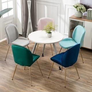 Art-Leon Velvet Dining Side Chair Shell Shape Design with Golden Legs